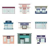 Flat 3D Stores — Stock Vector