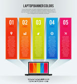 Laptop Banner Colors Background — Stock Vector