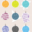 Hanging Christmas Sale Labels — Stock Vector