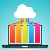 Cloud Colorful Laptop Banners — Stok Vektör