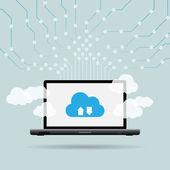 Dizüstü bilgisayar bulut uplink — Stok Vektör