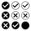 Approved and Denied Stamp Icons — Stock Vector
