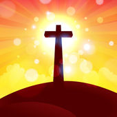 Glorious Cross at Sunset — Stock Vector