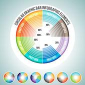 Circular Graphic Bar Infographic Elements — Stock Vector