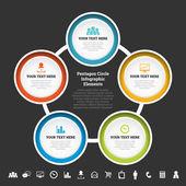 Pentagon Circle Infographic Elements — Stock Vector