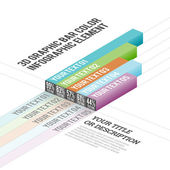 3D Graphic Bar Color Infographic Elements — Stock Vector