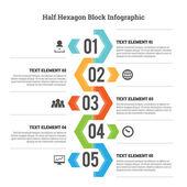 Half Hexagon Block Infographic — Stock Vector