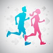 Laufen paar — Stockvektor