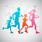 Running Family — Stock Vector