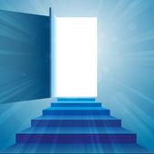 Stairway to Open Door — Stock Vector