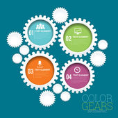 Color Gears Infographic — Stock Vector