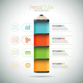 Pencil Tube Infographic — Stock Vector