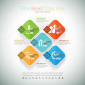 Five Bevel Color Box Infographic — Stock Vector