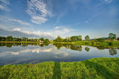 Summer landscape with lake and blue sky — Stock Photo