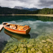 Boats in lake the mountains landscape - Stock Photo