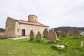 Serbian monastery with ancient cemetery — Stock Photo