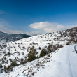 Winter road with snow, nature landscape in high mountain — Stock Photo