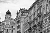 Old buildings in black and white tone — Stock Photo