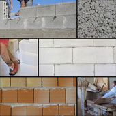 Construction site - Collage brick wall — Stock Photo