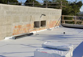 Construction site - waterproofing and insulation pvc terrace — Stock Photo
