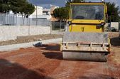 Construction site - road roller compact foundation — Stock Photo