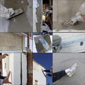Collage construction site - Installing external insulation — Stock Photo