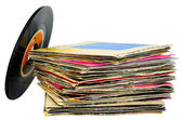 45 rpm vinyl discs stack on white background — Stock Photo