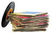 45 rpm vinyl discs stack on white background — Stock Photo