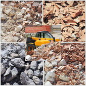 Piles of dirt and busted-up rubble at a construction site — Stock Photo