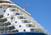Big Cruise ship docked in port, prow detail — Stock Photo
