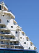Big Cruise ship docked in port, prow detail — Foto de Stock