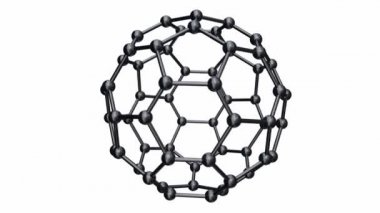 Seamless loop of rotating chrome C60 buckyball isolated on a white background