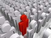 Red man in a crowd standing out as different — Stock Photo