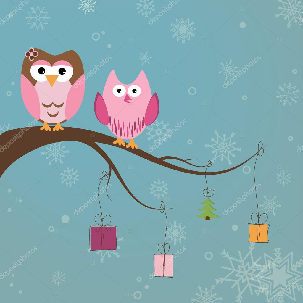 Christmas card with two cute owls on the tree branch — Stock Vector #17462665