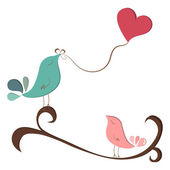 Beautiful birds in love — Stock Vector