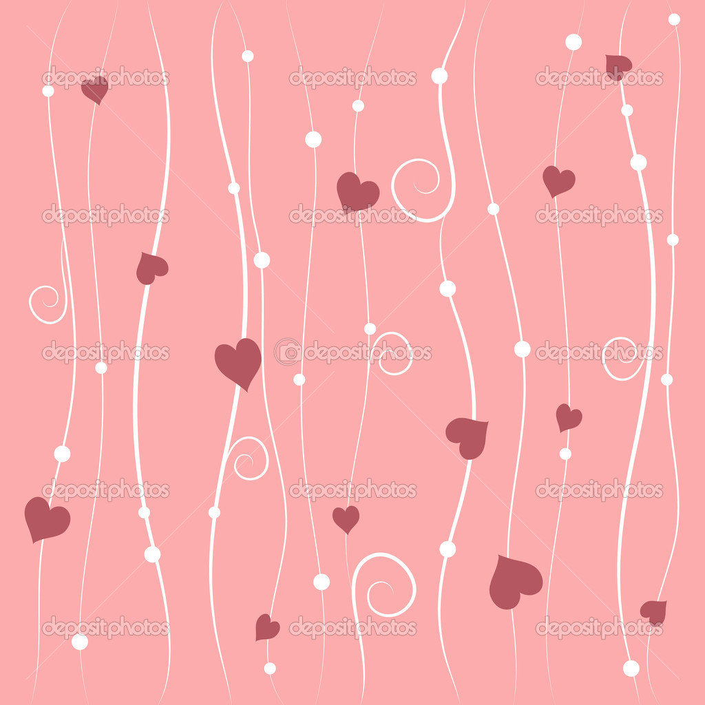 Valentines day vector background with pink hearts — Imagen vectorial #18647675