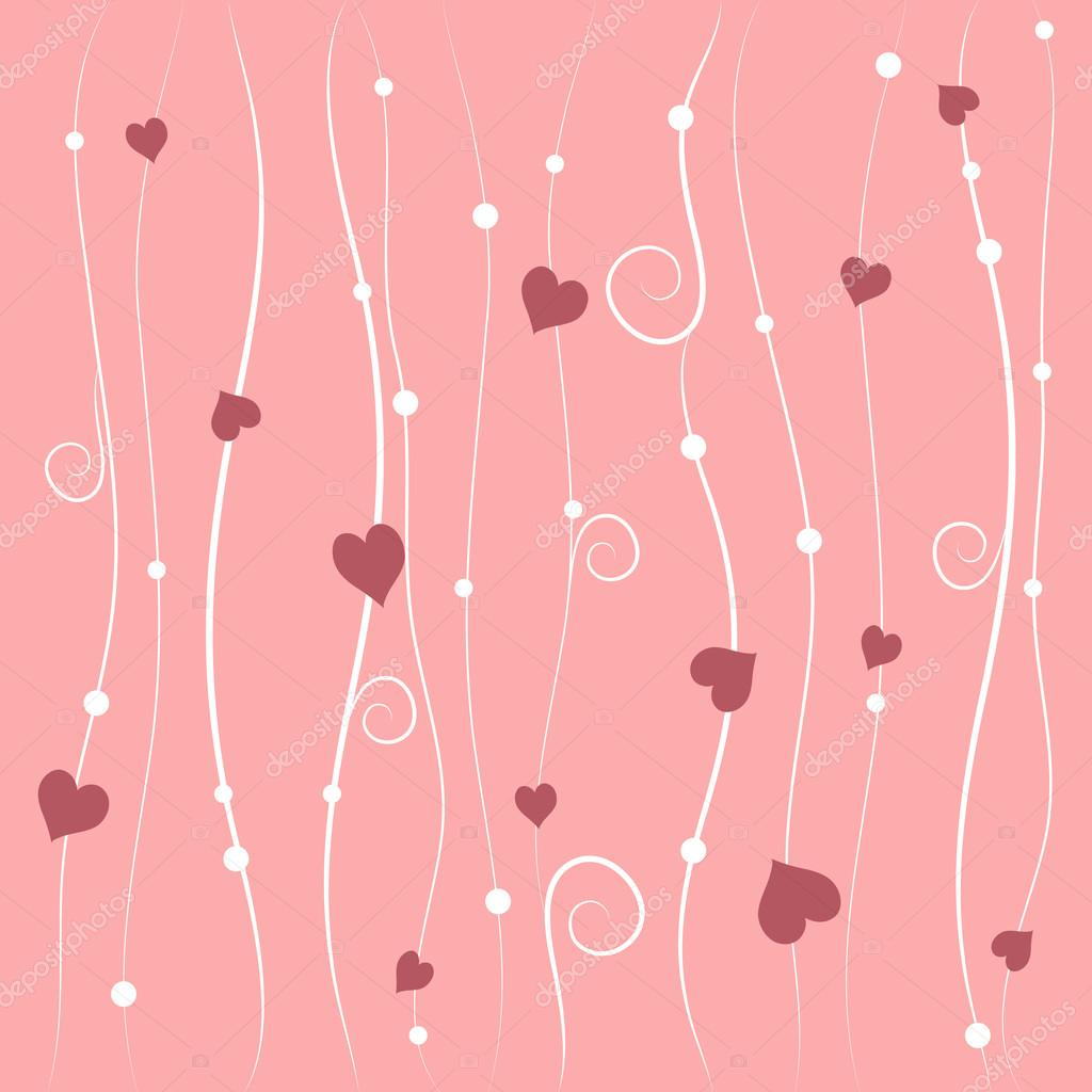 Valentines day vector background with pink hearts — Imagens vectoriais em stock #18647675