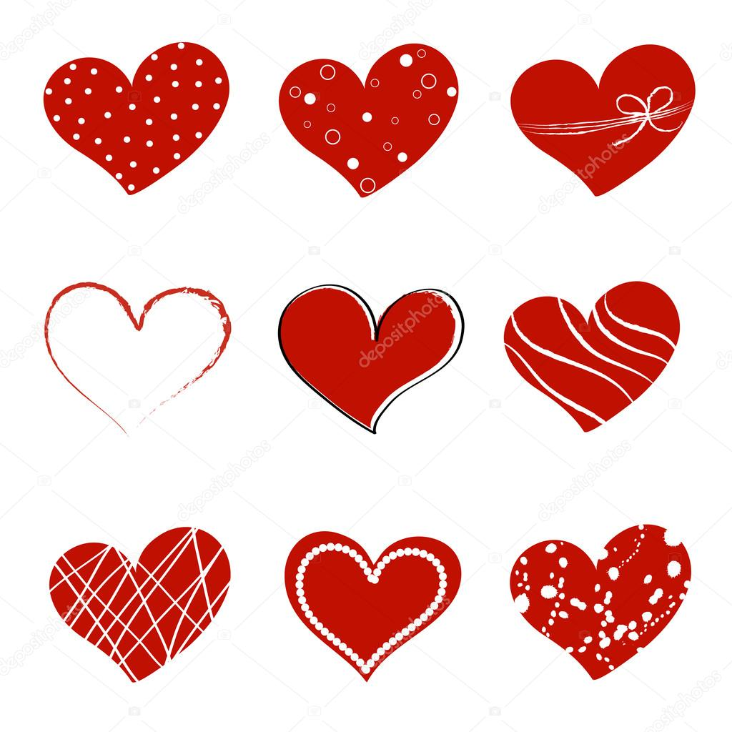 Collection of different style hearts separated on white background — Stock Vector #18932691