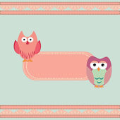 Vintage frame with wise owls — Stock Vector