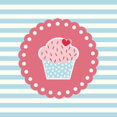 Retro card with cupcake — Stock Vector