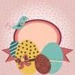 Royalty-Free Stock Imagem Vetorial: Card with easter eggs and bird in retro style