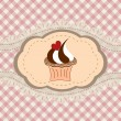 Retro cupcake card — Stock Vector
