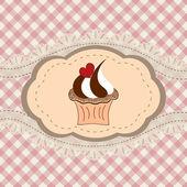 Retro cupcake card — Stock Vector