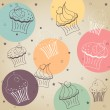 Cupcake pattern — Stockvectorbeeld