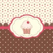 Card menu with cupcake and polka dots background — Stock Vector