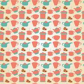 Tea tableware pattern — Stockvector