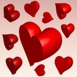 3D hearts — Stock Vector