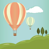 Hot air balloons landscape — Stock Vector