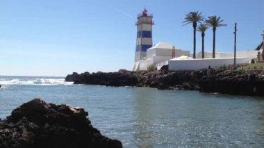 Santa Marta lighthouse in Cascais, Lisbon, Portugal. — Stock Video