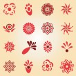 Set of flat icon flowers — Stock Vector